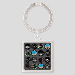 Flight Instruments Square Keychain