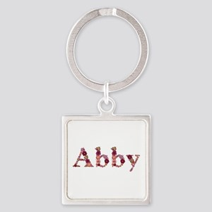 Abby Pink Flowers Square Keychain