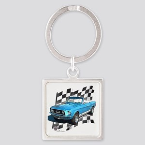 67blue Square Keychain