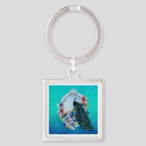 Peacock Design With Flowers Square Keychains