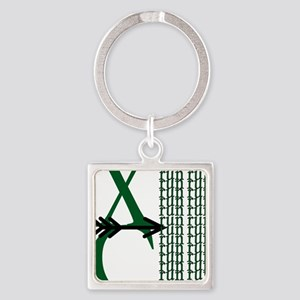 XC Run Green Black Square Keychain
