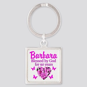 BLESSED 90TH Square Keychain