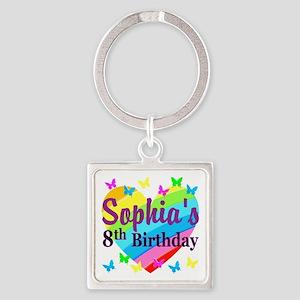 HAPPY 8TH Square Keychain