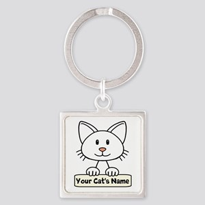 Personalized White Cat Square Keychain