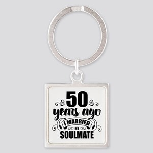 50th Anniversary Square Keychain