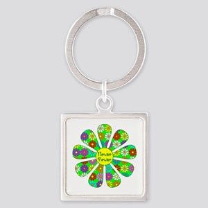 Cool Flower Power Square Keychain