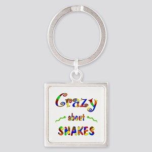 Crazy About Snakes Square Keychain