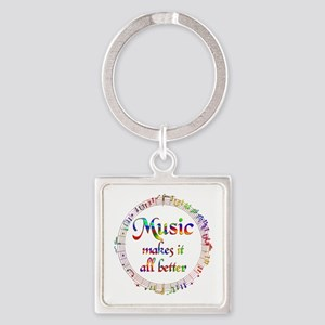Music Makes it Better Square Keychain