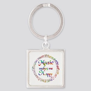 Music makes me Happy Square Keychain