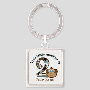 2nd Birthday Monkey Personalized Square Keychain