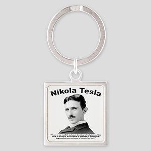Tesla: Religion Square Keychain