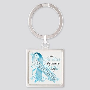 I Wear Light Blue Because I Love M Square Keychain