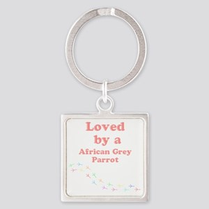 Loved by aAfrican Grey Parrot Square Keychain