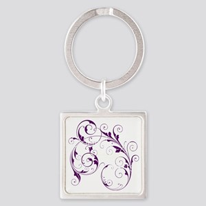 Purple Scroll - White Font Square Keychain