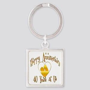 happy anniversary heart 40 Square Keychain