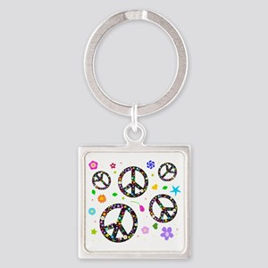 Peace signs and flowers pattern Square Keychain