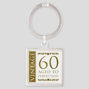 Fancy Vintage 60th Birthday Square Keychain