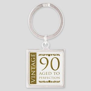 Fancy Vintage 90th Birthday Square Keychain