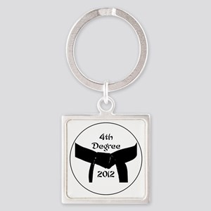 Martial Arts 4th Degree Black Belt Square Keychain