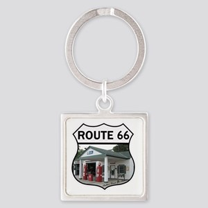 Route 66 - Amblers Texaco Gas Stat Square Keychain