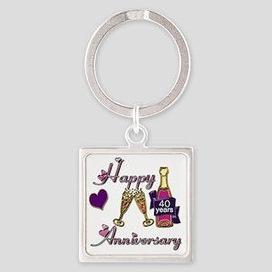 Anniversary pink and purple 40 Square Keychain