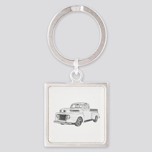 1950 Ford F1 Square Keychain