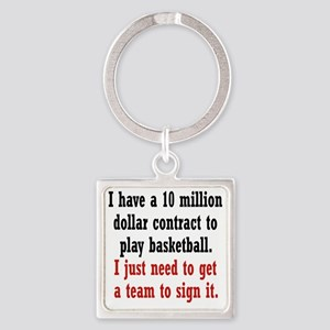 basketball-contract2 Square Keychain