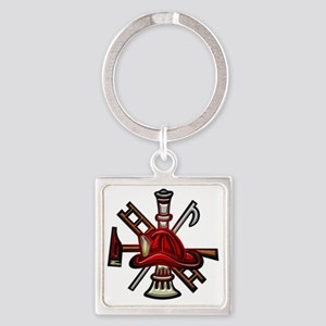 Fire Department Seal Square Keychain