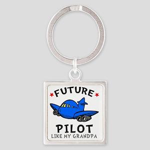 Pilot Grandpa Square Keychain