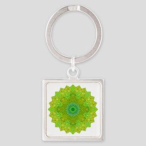 Green Yellow Earth Mandala Shirt Square Keychain
