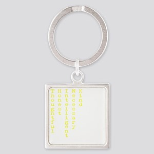 Think Yellow Transparent Square Keychain