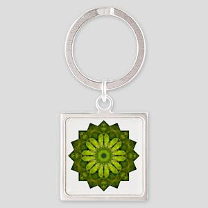 Green Flower Heart Chakra Mandala  Square Keychain