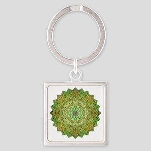 Green Gold Heart Chakra Mandala Yo Square Keychain