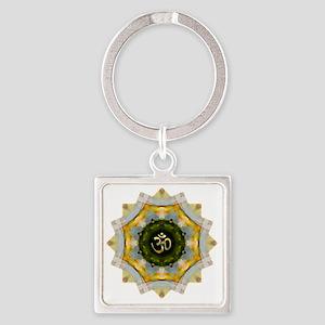 Gold Green Yoga Om Mandala Shirt Square Keychain