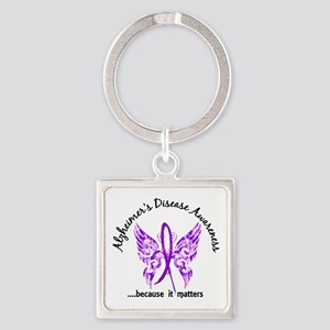 Alzheimer's Disease Butterfly 6.1 Square Keychain