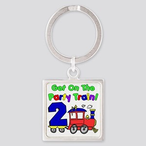 Get On The Party Train 2 Year Old Square Keychain