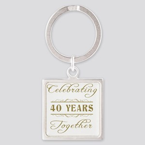 Celebrating 40 Years Together Square Keychain