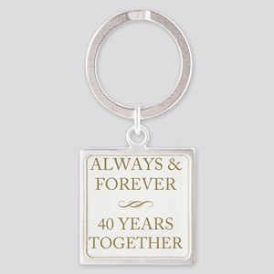 40 Years Together Square Keychain