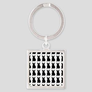 French Bulldog Silhouette Flip Flo Square Keychain