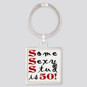 Funny 50th Birthday Gift For Men Square Keychain