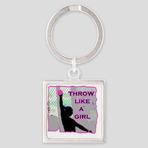 Throw like a Girl Square Keychain