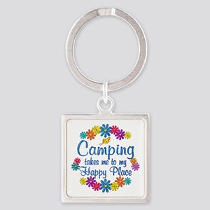 Camping Happy Place Square Keychain