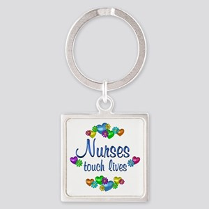 Nurses Touch Lives Square Keychain
