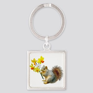 Squirrel Daffodils Square Keychain