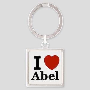 I love Abel Square Keychain