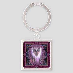 Winged Heart Mandala Square Keychain