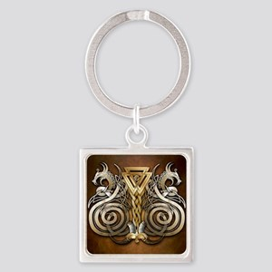 Norse Valknut Dragons Square Keychain