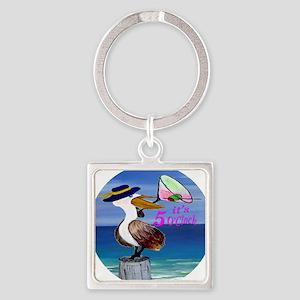 Its 5 OClock Martini Pelican Square Keychain