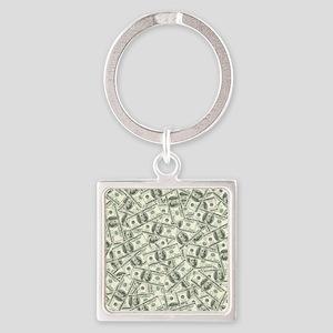 100 Dollar Bill Pattern Square Keychain