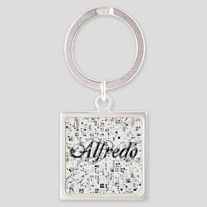 Alfredo, Matrix, Abstract Art Square Keychain